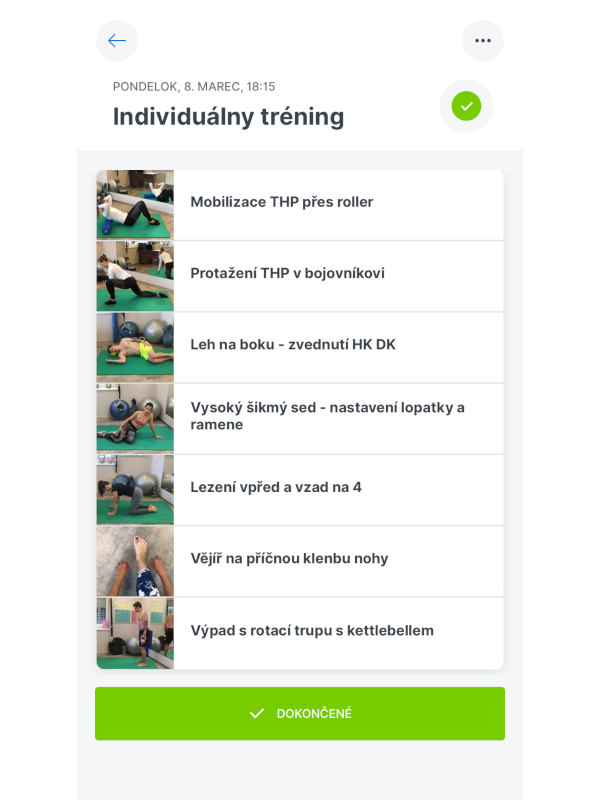 Možnost vytváření vlastních cvičebních sestav v aplikaci